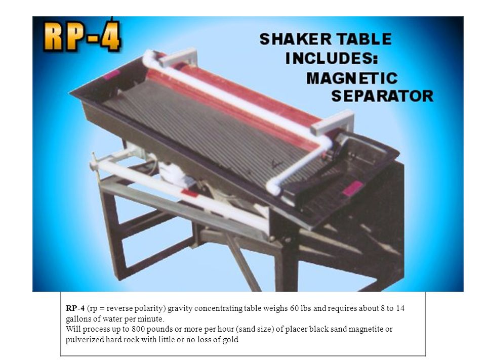 RP-4 (rp = reverse polarity) gravity concentrating table weighs 60 lbs and requires about 8 to 14 gallons of water per minute.