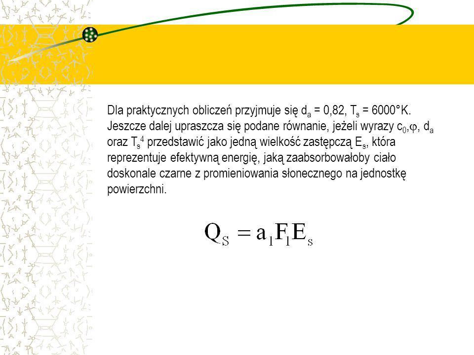 Dla praktycznych obliczeń przyjmuje się da = 0,82, Ts = 6000°K