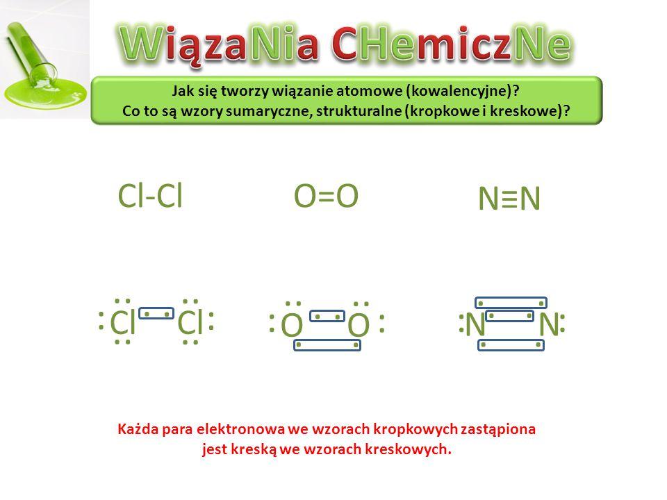 WiązaNia CHemiczNe · · · · · · Cl-Cl O=O N≡N Cl Cl O O N N