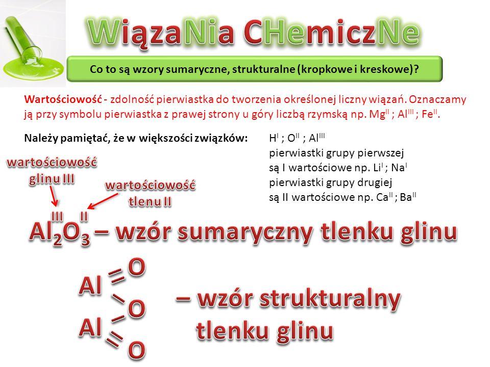WiązaNia CHemiczNe Al2O3 – wzór sumaryczny tlenku glinu _ O Al _