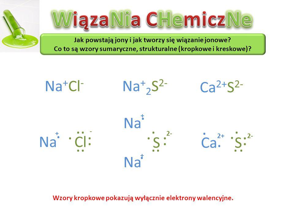WiązaNia CHemiczNe · · · · · · · · Na+Cl- Na+2S2- Ca2+S2- Na S Na Cl