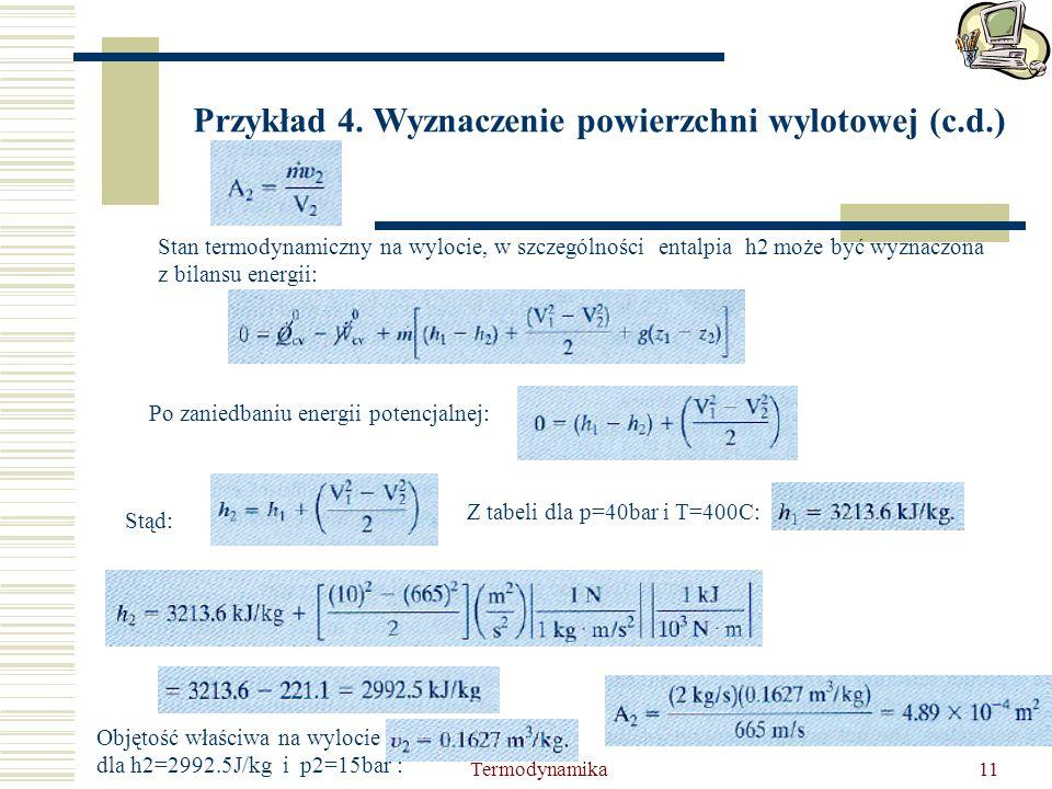 Przykład 4. Wyznaczenie powierzchni wylotowej (c.d.)