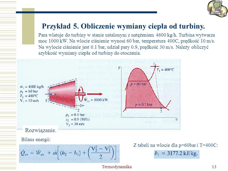 Przykład 5. Obliczenie wymiany ciepła od turbiny.