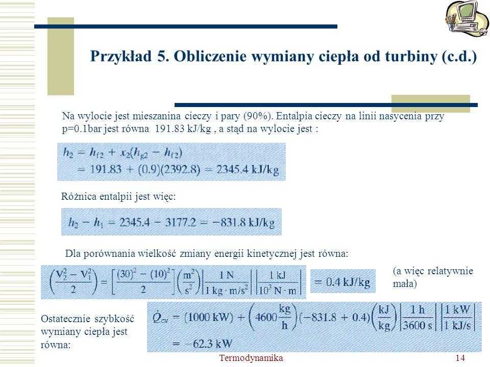 Przykład 5. Obliczenie wymiany ciepła od turbiny (c.d.)