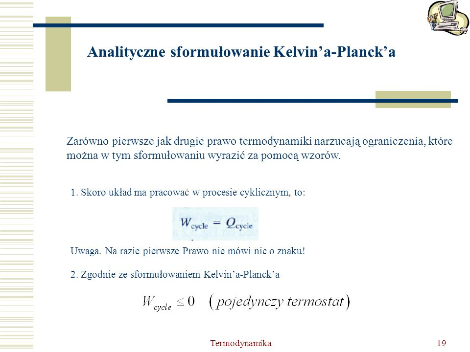 Analityczne sformułowanie Kelvin'a-Planck'a