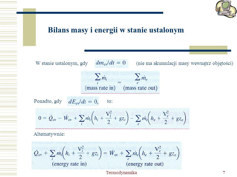Bilans masy i energii w stanie ustalonym
