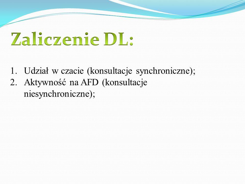 Zaliczenie DL: Udział w czacie (konsultacje synchroniczne);