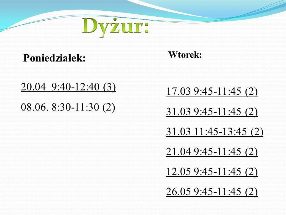 Dyżur: Poniedziałek: 20.04 9:40-12:40 (3) 08.06. 8:30-11:30 (2)