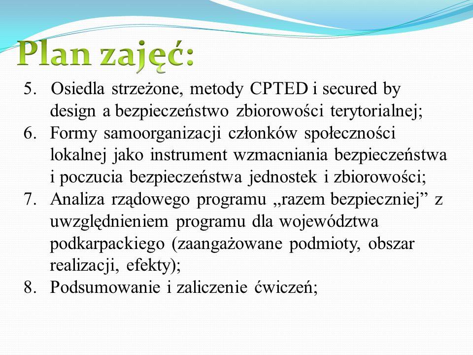 Plan zajęć: 5. Osiedla strzeżone, metody CPTED i secured by design a bezpieczeństwo zbiorowości terytorialnej;