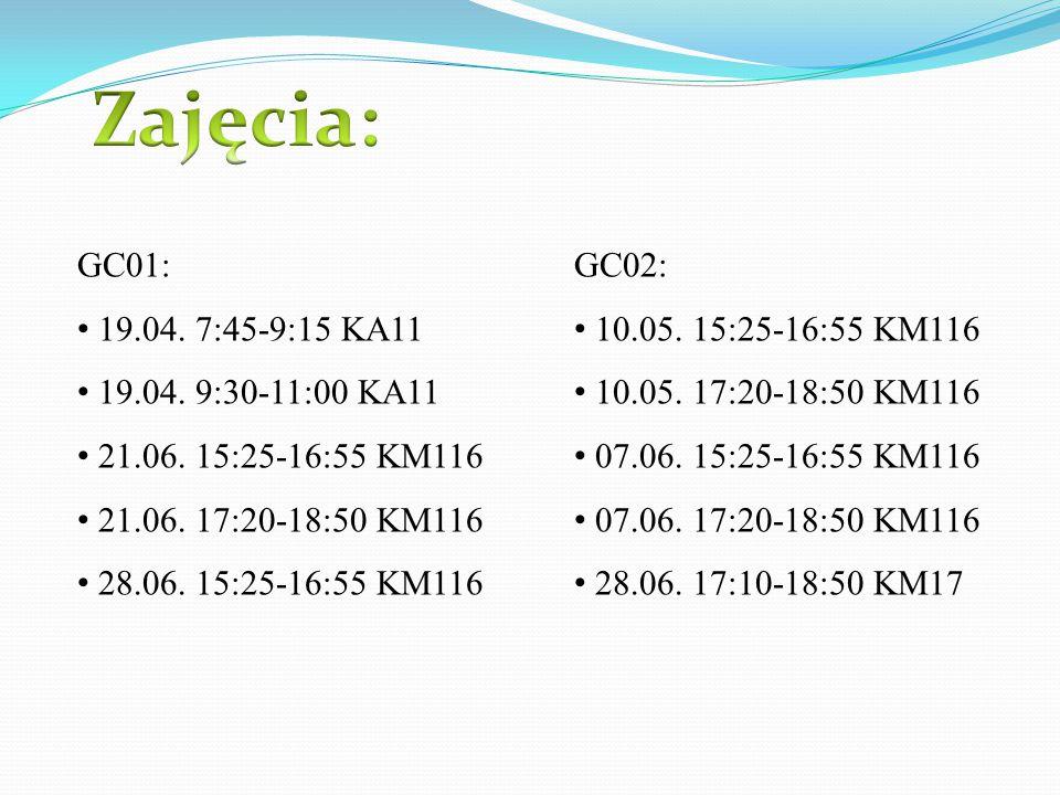 Zajęcia: GC01: 19.04. 7:45-9:15 KA11 19.04. 9:30-11:00 KA11