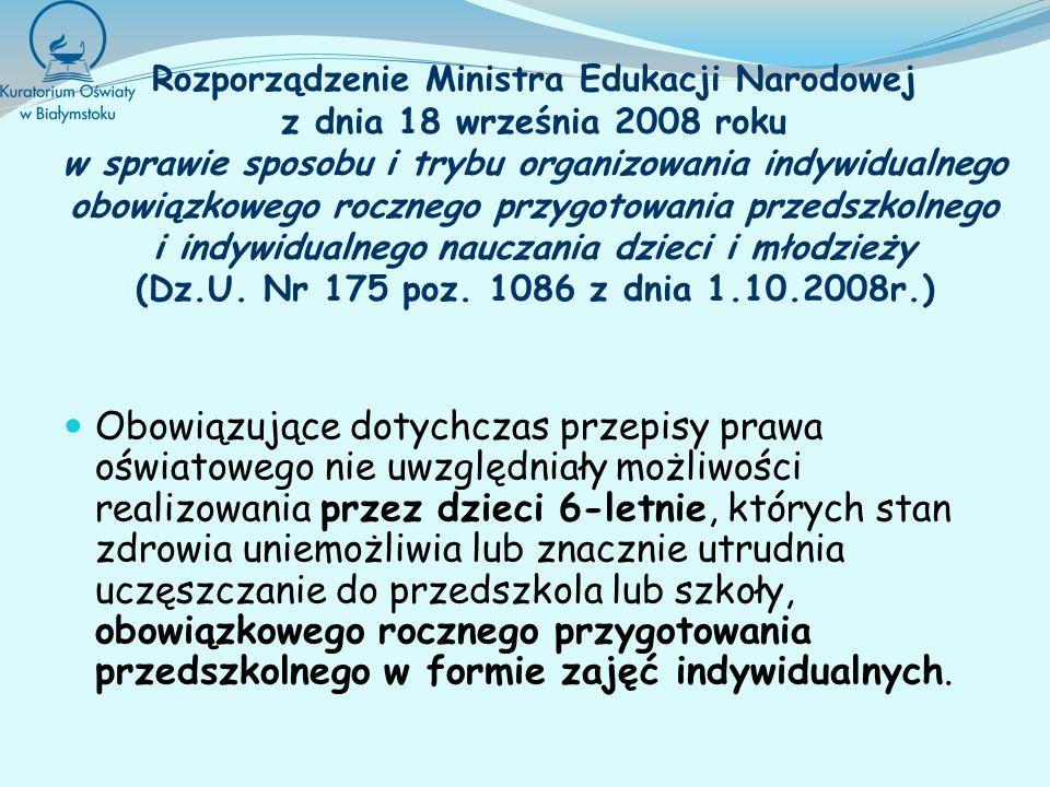 Rozporządzenie Ministra Edukacji Narodowej z dnia 18 września 2008 roku w sprawie sposobu i trybu organizowania indywidualnego obowiązkowego rocznego przygotowania przedszkolnego i indywidualnego nauczania dzieci i młodzieży (Dz.U. Nr 175 poz. 1086 z dnia 1.10.2008r.)
