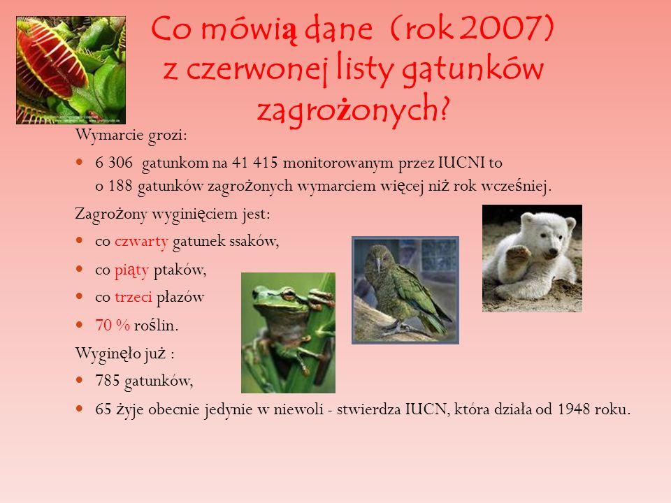 Co mówią dane (rok 2007) z czerwonej listy gatunków zagrożonych
