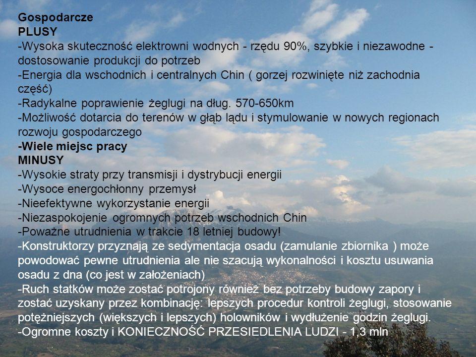 Gospodarcze PLUSY. -Wysoka skuteczność elektrowni wodnych - rzędu 90%, szybkie i niezawodne -dostosowanie produkcji do potrzeb.