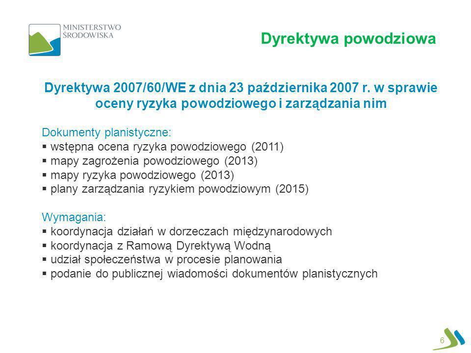 Dyrektywa powodziowa Dyrektywa 2007/60/WE z dnia 23 października 2007 r. w sprawie oceny ryzyka powodziowego i zarządzania nim.