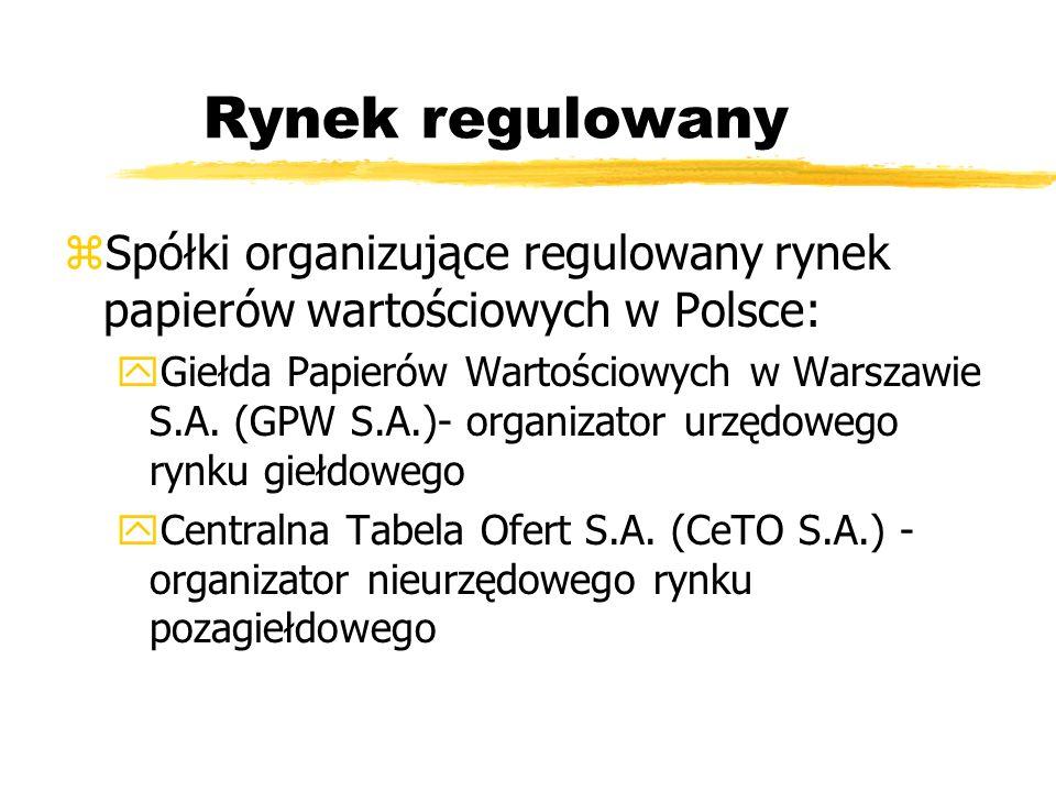 Rynek regulowany Spółki organizujące regulowany rynek papierów wartościowych w Polsce: