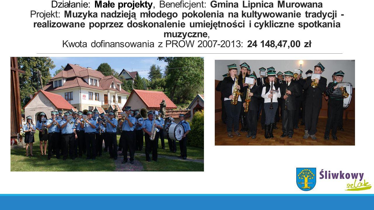Działanie: Małe projekty, Beneficjent: Gmina Lipnica Murowana Projekt: Muzyka nadzieją młodego pokolenia na kultywowanie tradycji - realizowane poprzez doskonalenie umiejętności i cykliczne spotkania muzyczne, Kwota dofinansowania z PROW 2007-2013: 24 148,47,00 zł