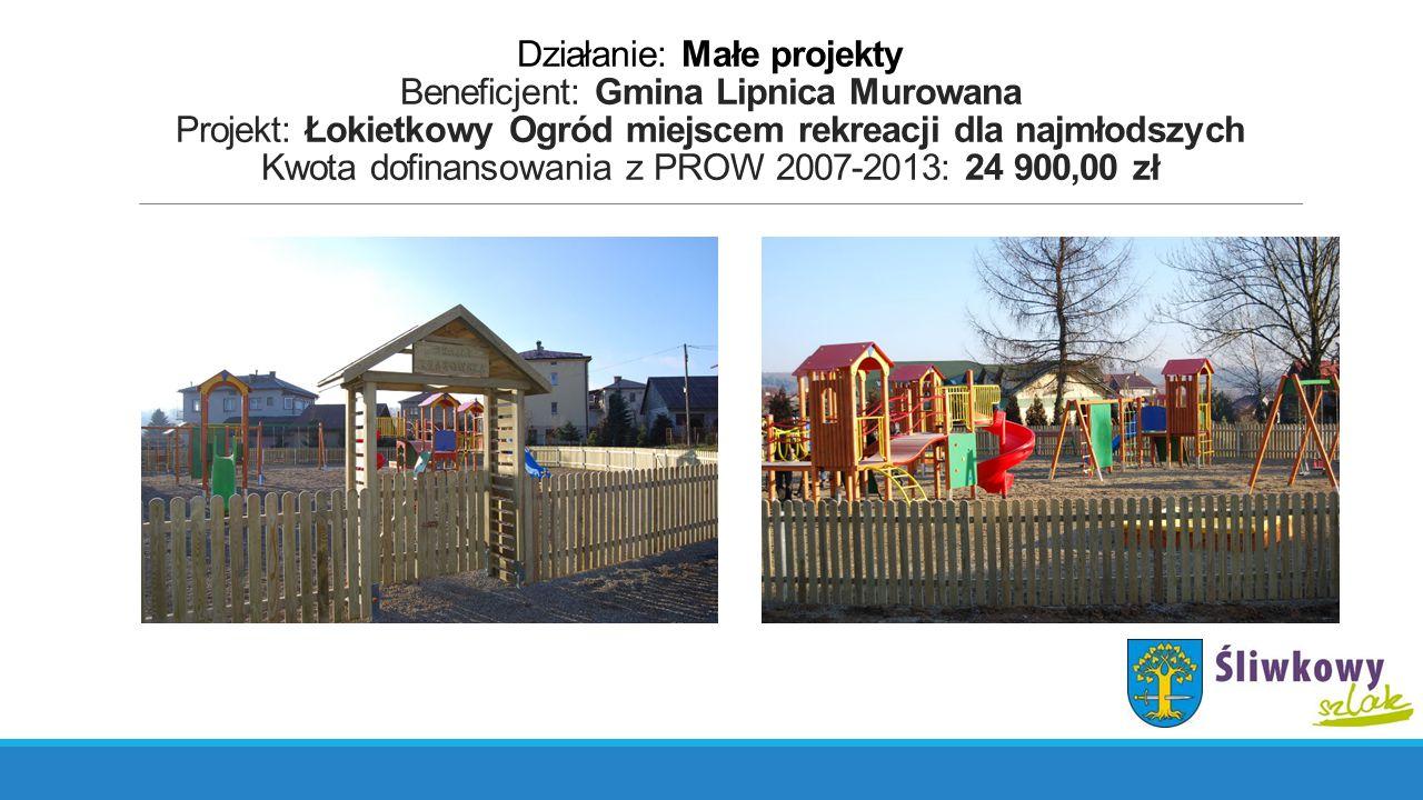 Działanie: Małe projekty Beneficjent: Gmina Lipnica Murowana Projekt: Łokietkowy Ogród miejscem rekreacji dla najmłodszych Kwota dofinansowania z PROW 2007-2013: 24 900,00 zł