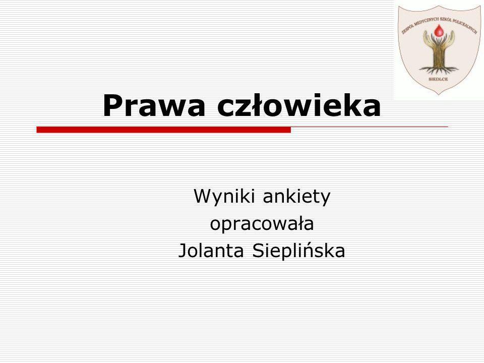 Wyniki ankiety opracowała Jolanta Sieplińska