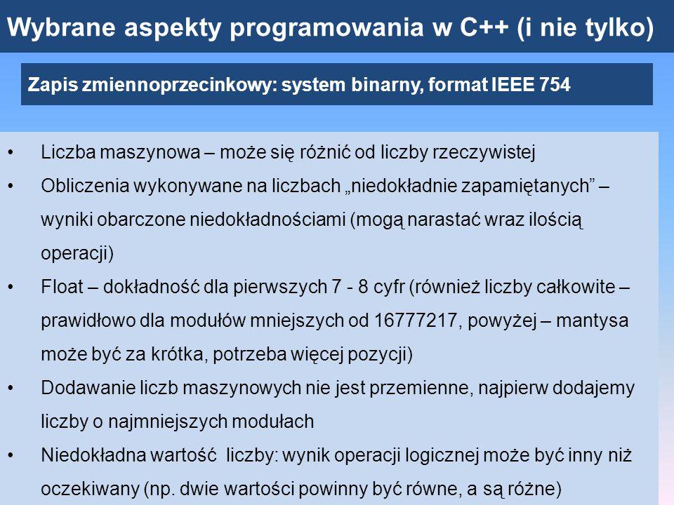 Wybrane aspekty programowania w C++ (i nie tylko)