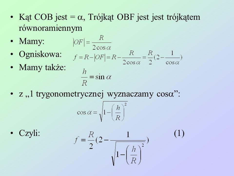 Kąt COB jest = a, Trójkąt OBF jest jest trójkątem równoramiennym