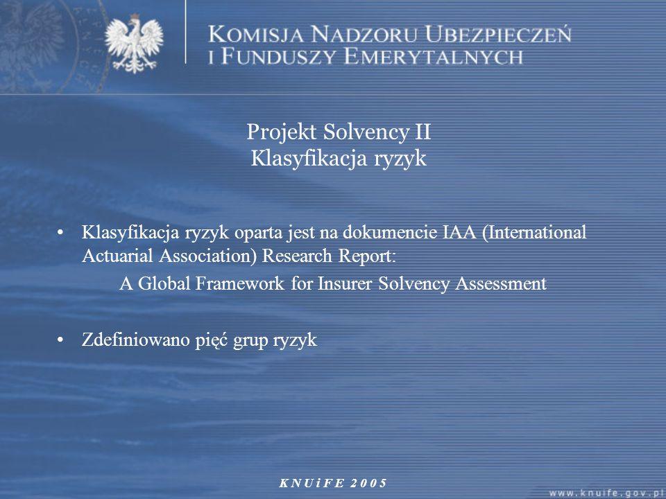 Projekt Solvency II Klasyfikacja ryzyk