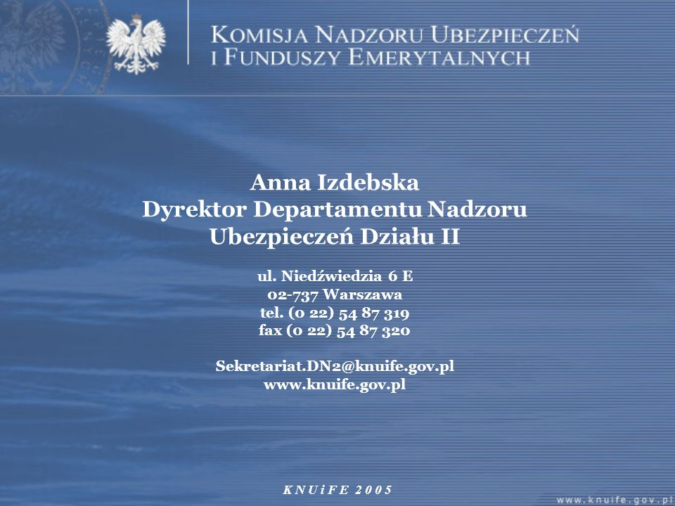 Anna Izdebska Dyrektor Departamentu Nadzoru Ubezpieczeń Działu II ul