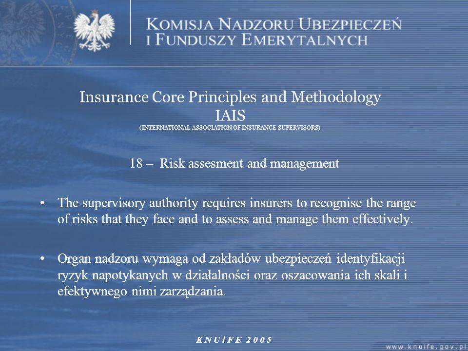 18 – Risk assesment and management