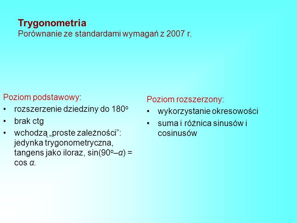 Trygonometria Porównanie ze standardami wymagań z 2007 r.
