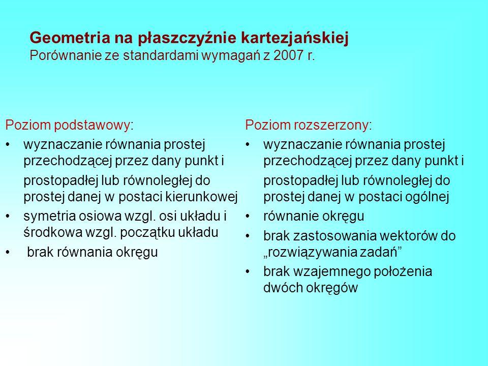 Geometria na płaszczyźnie kartezjańskiej Porównanie ze standardami wymagań z 2007 r.