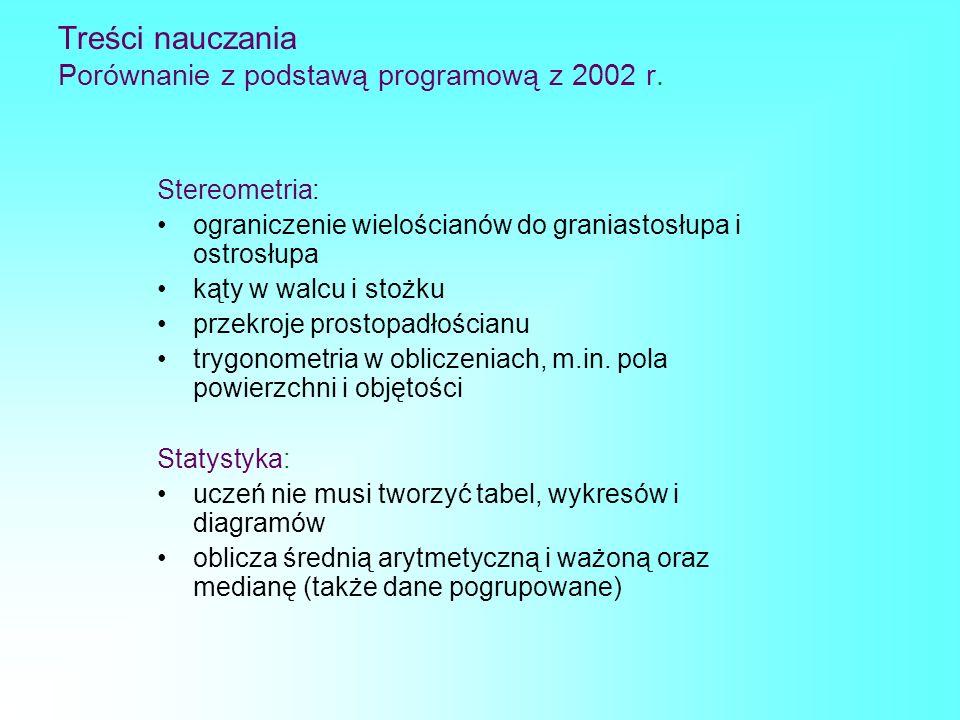 Treści nauczania Porównanie z podstawą programową z 2002 r.