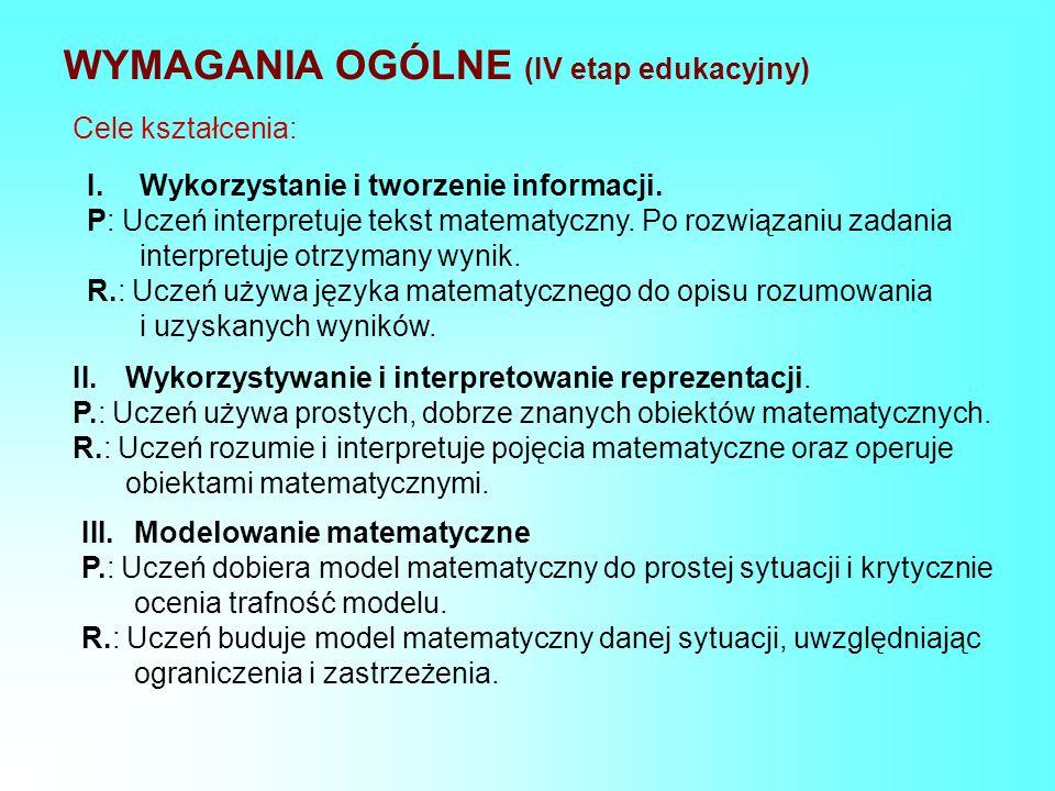 WYMAGANIA OGÓLNE (IV etap edukacyjny)