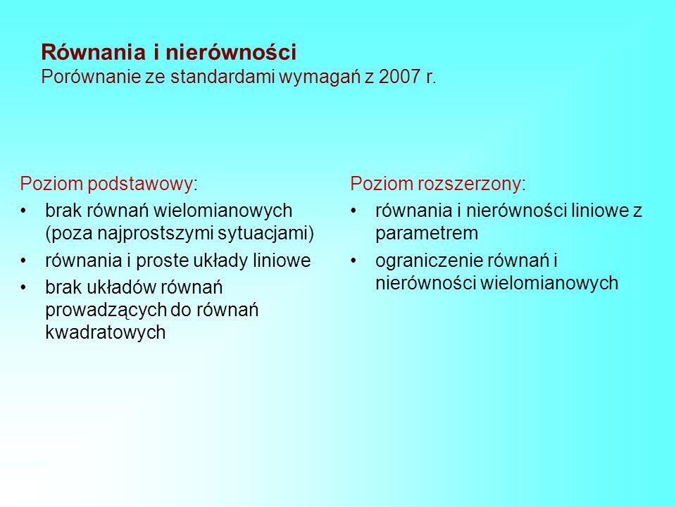 Równania i nierówności Porównanie ze standardami wymagań z 2007 r.