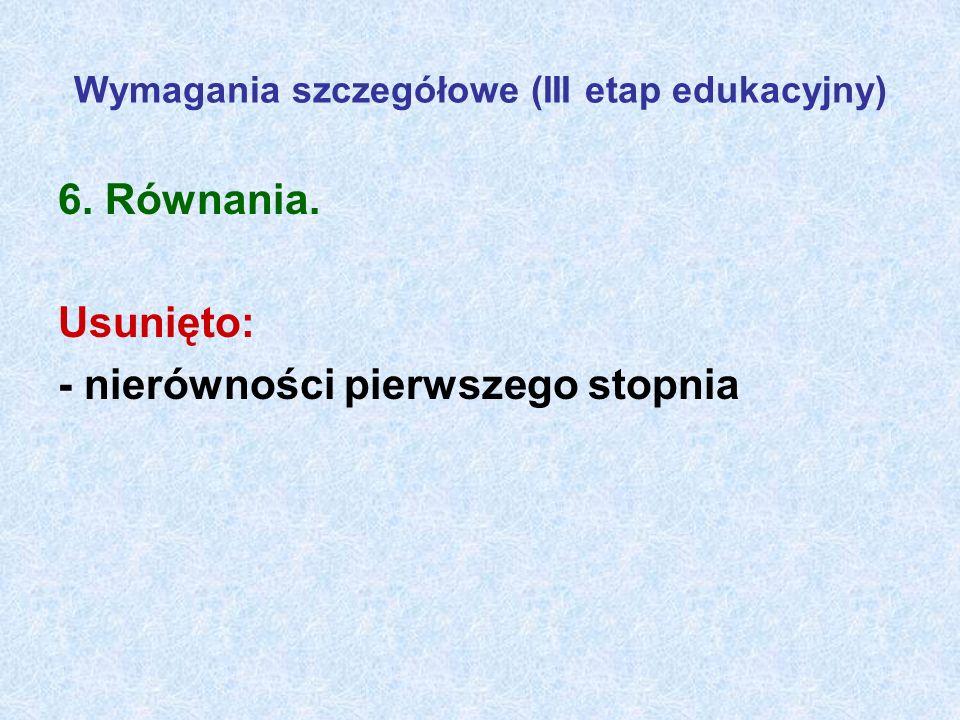 Wymagania szczegółowe (III etap edukacyjny)