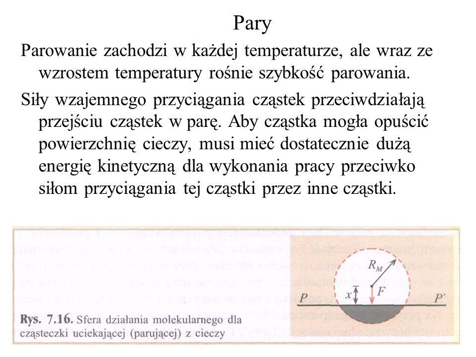 Pary Parowanie zachodzi w każdej temperaturze, ale wraz ze wzrostem temperatury rośnie szybkość parowania.