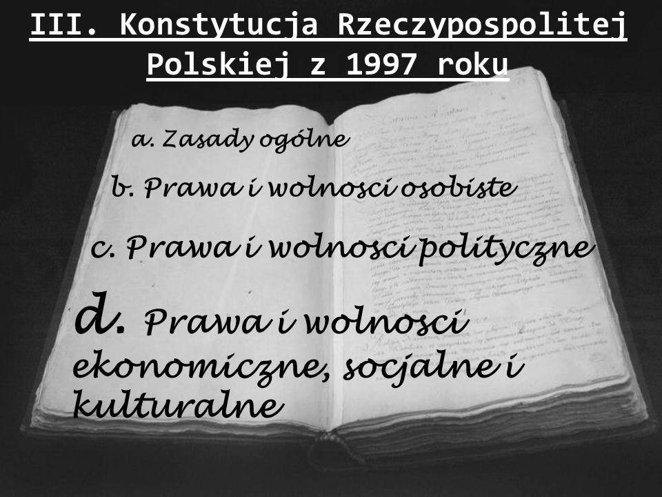 III. Konstytucja Rzeczypospolitej Polskiej z 1997 roku