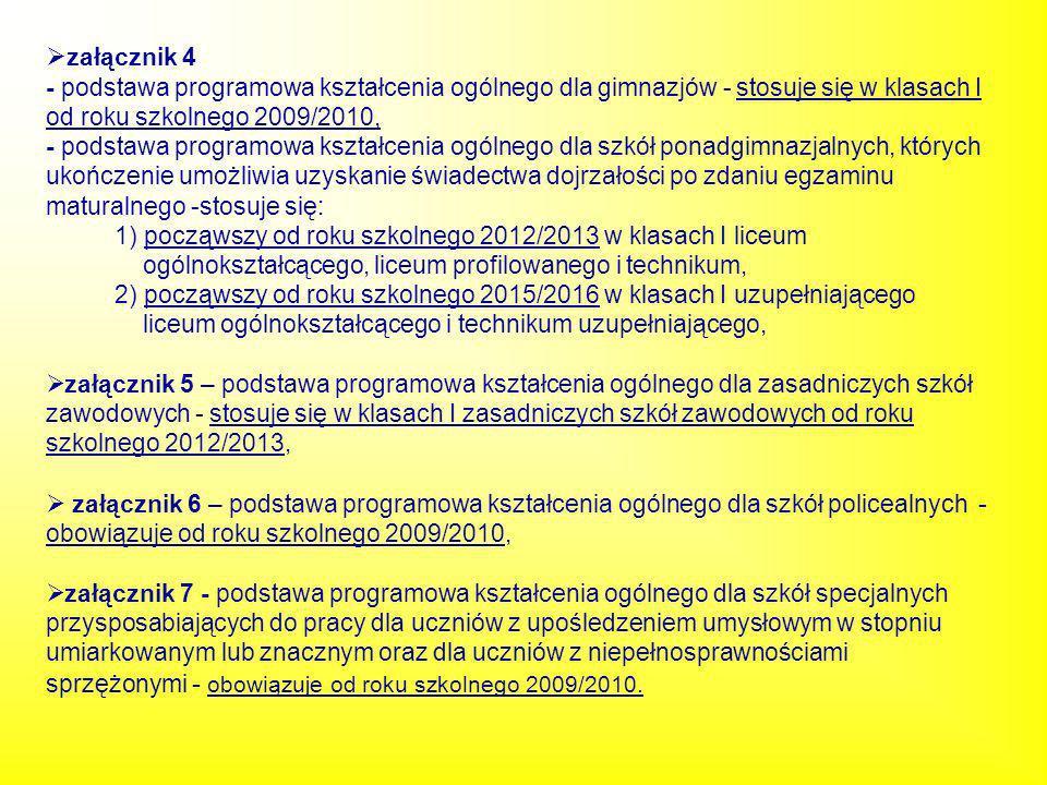 załącznik 4- podstawa programowa kształcenia ogólnego dla gimnazjów - stosuje się w klasach I od roku szkolnego 2009/2010,