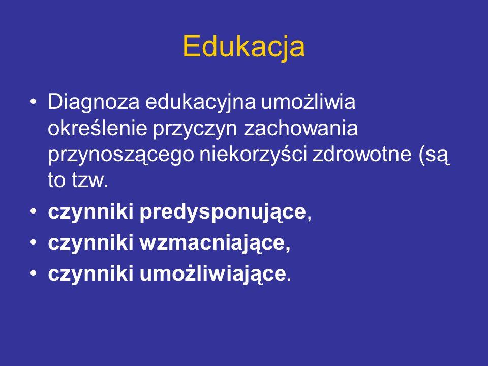 Edukacja Diagnoza edukacyjna umożliwia określenie przyczyn zachowania przynoszącego niekorzyści zdrowotne (są to tzw.