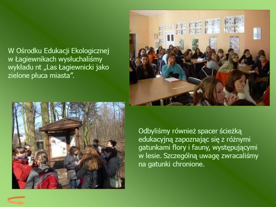 """W Ośrodku Edukacji Ekologicznej w Łagiewnikach wysłuchaliśmy wykładu nt """"Las Łagiewnicki jako zielone płuca miasta ."""