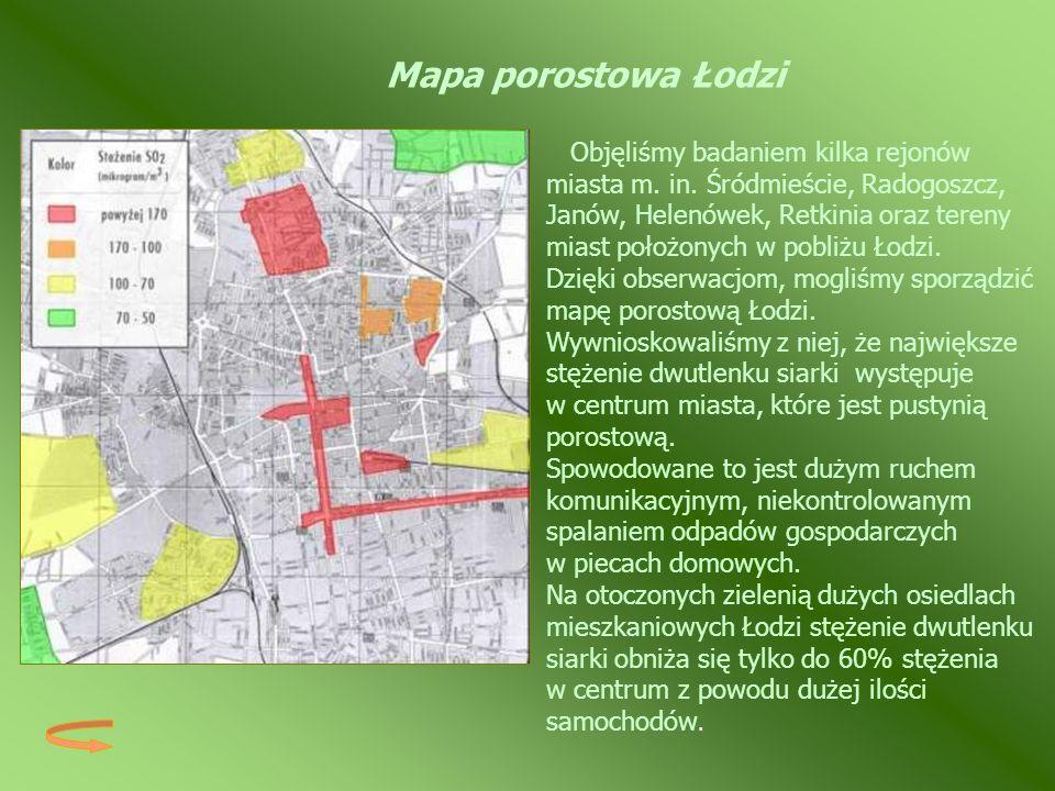 Mapa porostowa Łodzi