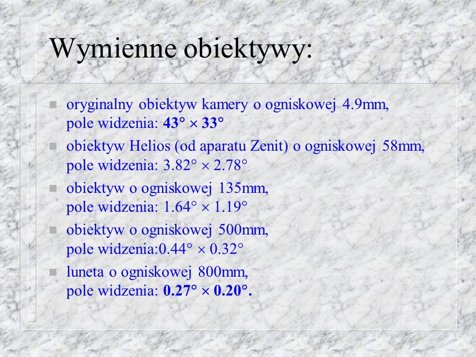 Wymienne obiektywy: oryginalny obiektyw kamery o ogniskowej 4.9mm, pole widzenia: 43  33