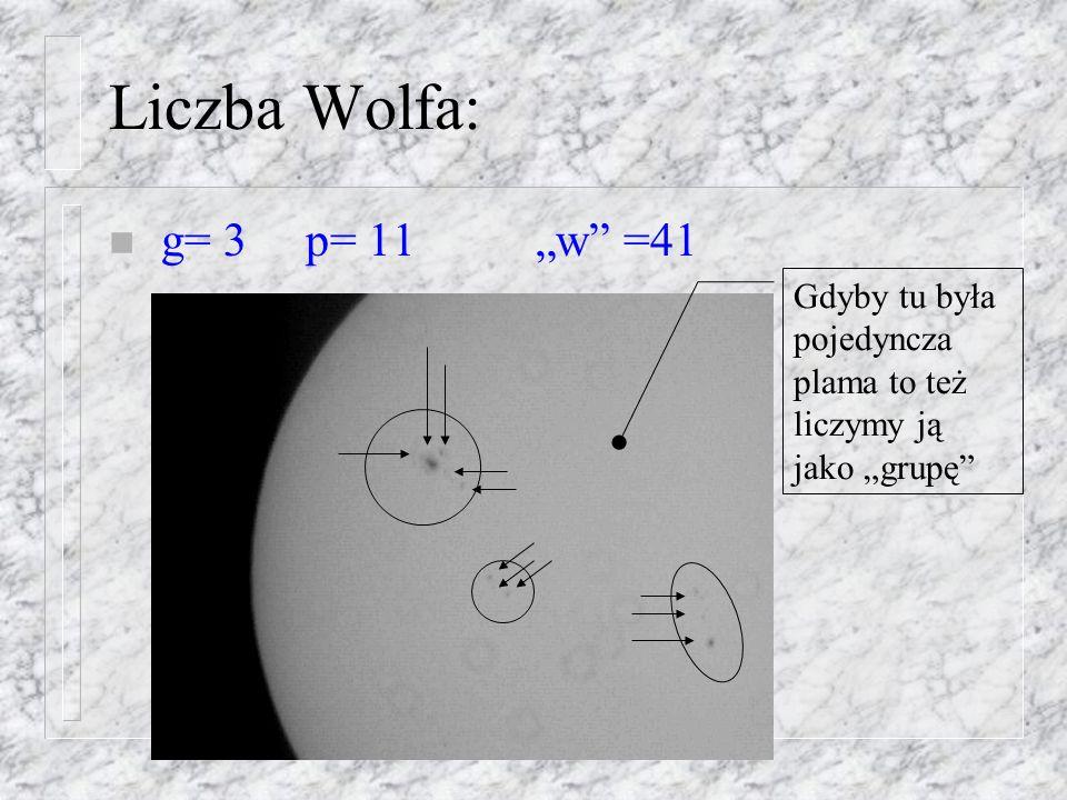 """Liczba Wolfa: g= 3 p= 11 """"w =41 Gdyby tu była pojedyncza"""