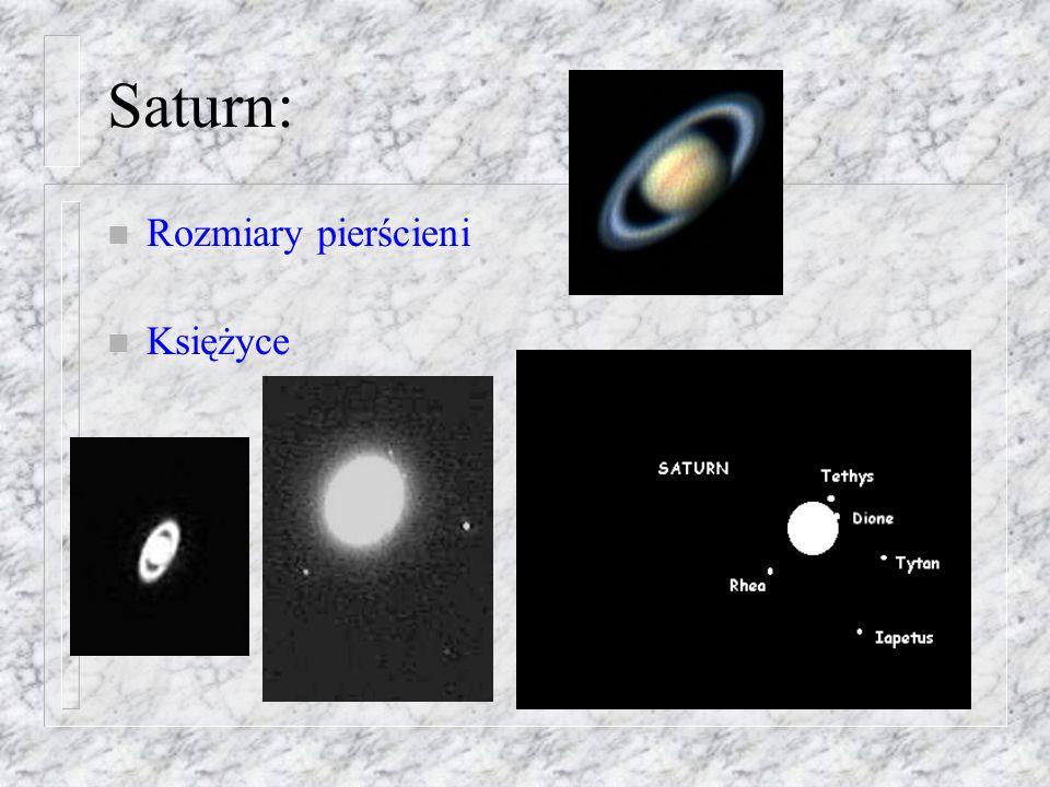 Saturn: Rozmiary pierścieni Księżyce