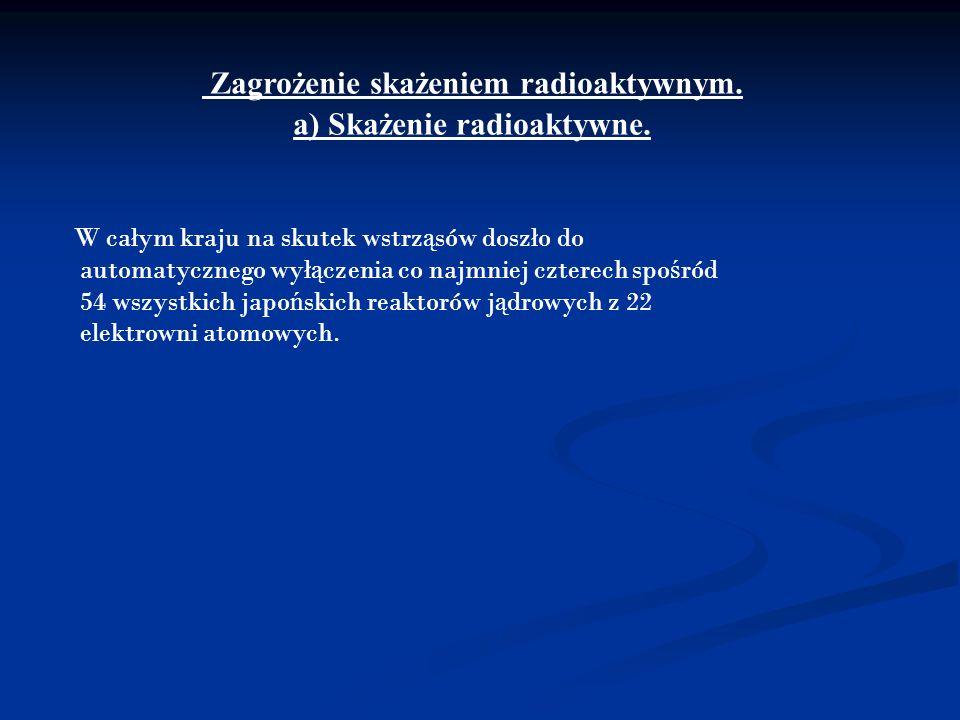 Zagrożenie skażeniem radioaktywnym. a) Skażenie radioaktywne.