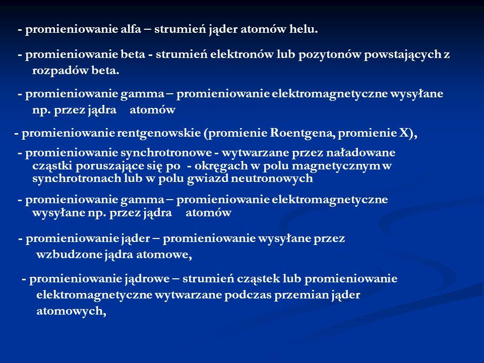 - promieniowanie alfa – strumień jąder atomów helu.