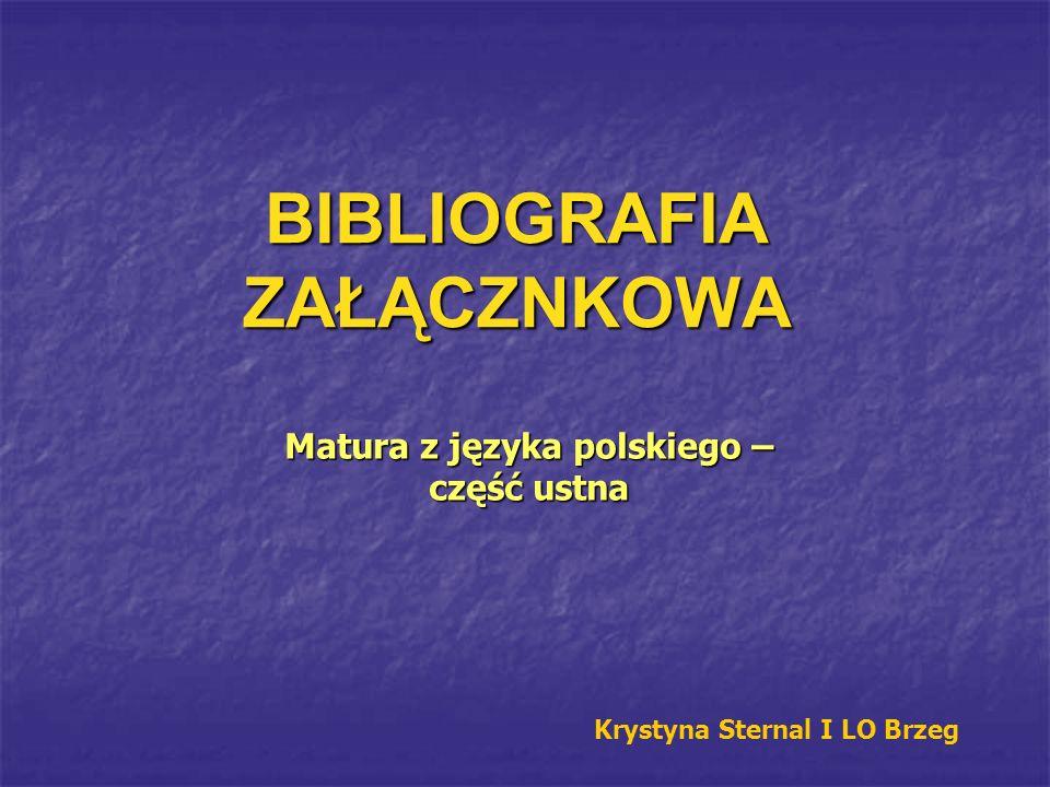 BIBLIOGRAFIA ZAŁĄCZNKOWA