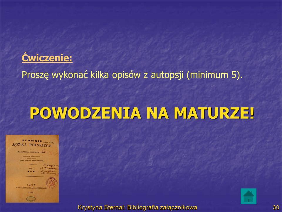 Krystyna Sternal: Bibliografia załącznikowa