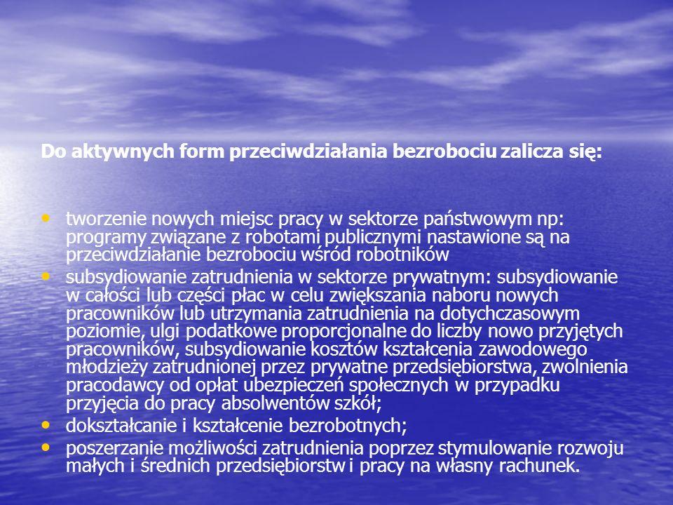 Do aktywnych form przeciwdziałania bezrobociu zalicza się:
