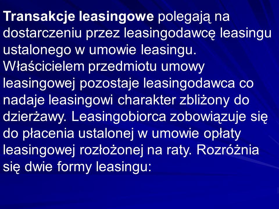 Transakcje leasingowe polegają na dostarczeniu przez leasingodawcę leasingu ustalonego w umowie leasingu.