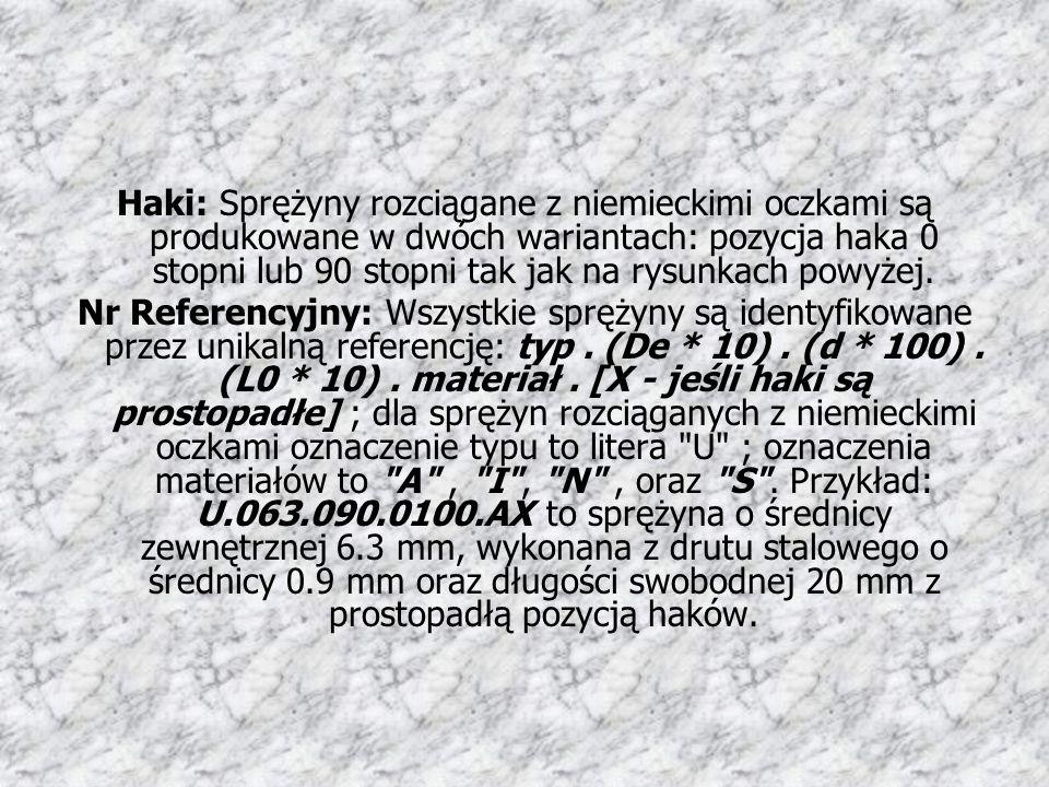 Haki: Sprężyny rozciągane z niemieckimi oczkami są produkowane w dwóch wariantach: pozycja haka 0 stopni lub 90 stopni tak jak na rysunkach powyżej.