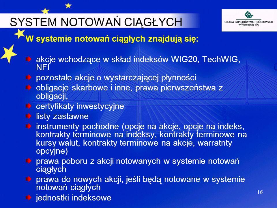 SYSTEM NOTOWAŃ CIĄGŁYCH